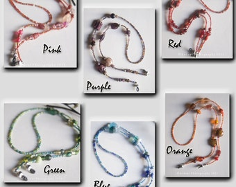 Glass Beaded Eyeglass Chains in a Rainbow of colors - Listing is for ONE necklace - Eyeglass Necklace - Art Jewelry by Sarah McTernen