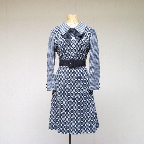 Vintage 1960s Dress / Mod Pop Art Knit / Sm - Med