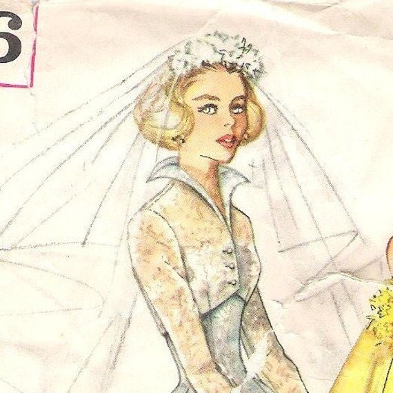 Vintage 1950s Wedding Gown Pattern Simplicity 2066 Size 12 Bust 32 c2