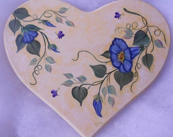 Heart Shaped Morning glories Wood Plaque - hand painted - floral