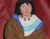 Sitting Native American Maiden figurine. OOAK work of art.