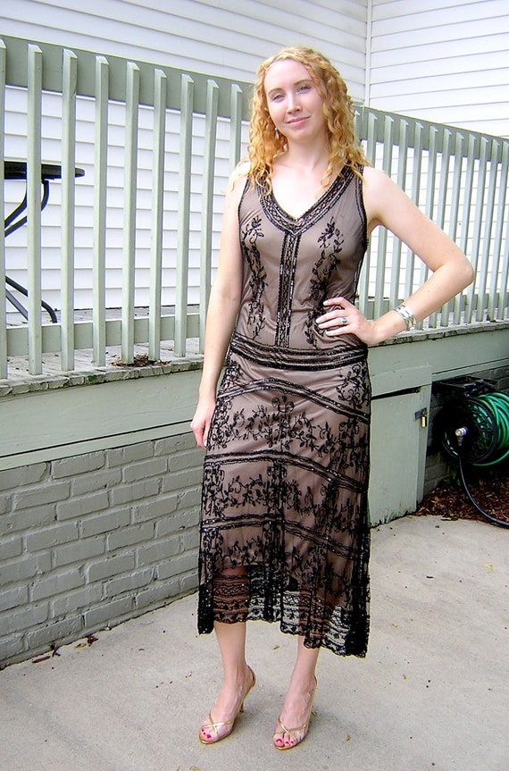 Vintage 1980s does 1920s STENAY glass beaded and mesh flapper dress with drop waist