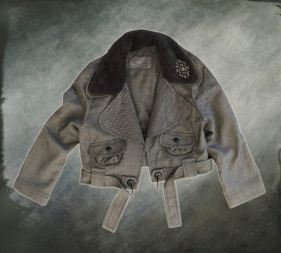 Black friday womens crop brooch jacket black double collar by tratgirl