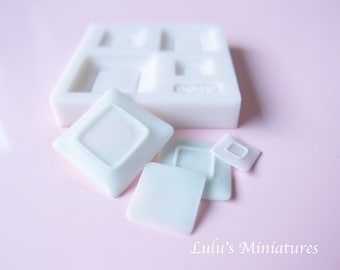 Silicone Flexible Square Plate Mold for Dollhouse Miniature