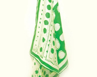 Vintage Green Vera Scarf, Dots on White