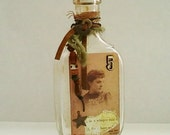 Altered Vintage Glass Bottle Victorian Photo and Perfume Label Sepia and Gold - RobinsArtAndDesign