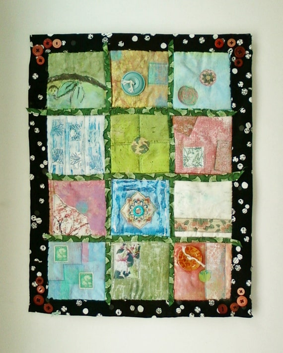 Asian Motif Fabric Art Quilted Mixed Media Wall Hanging