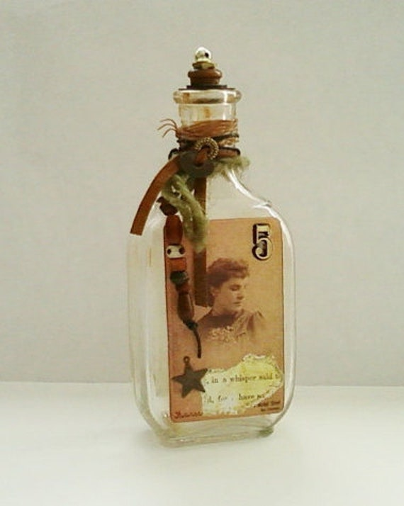 Altered Vintage Glass Bottle Victorian Photo and Perfume Label Sepia and Gold