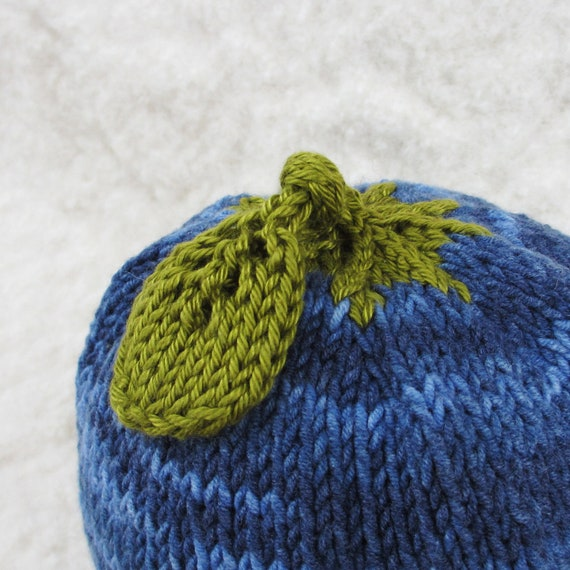 Blueberry Hat - Soft Hand Knit - Baby size - Ready to Ship