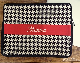 "HOUNDSTOOTH personalized laptop sleeve 13"" or 15"" - monogram - NEW elastic tabs give you the option to keep the sleeve on while you work"