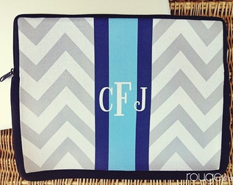 "personalize laptop sleeve 13"" or 15"" in PREPPY CHEVRON - monogram - NEW elastic tab give you the option to keep the sleeve on while you work"