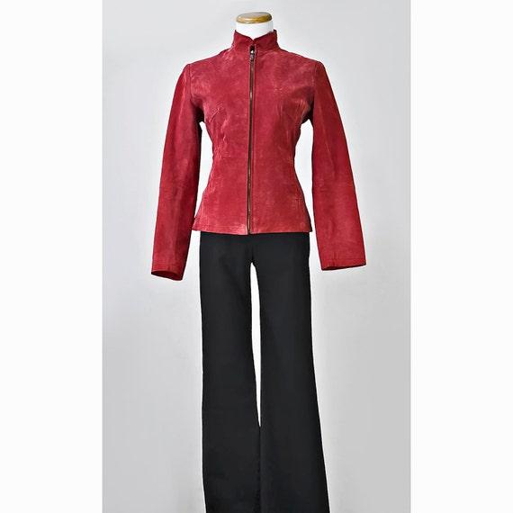 Reserved for Carol / Vintage 90's Suede Jacket / 1990's Rose Red Leather Coat / SALE