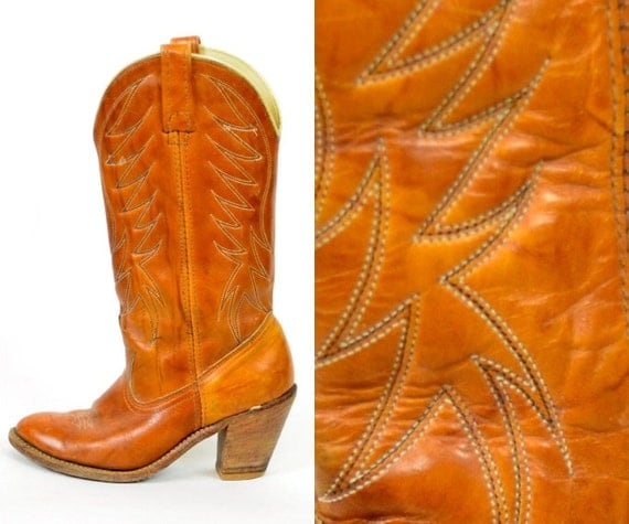 smashing DINGO cowboy LEATHER riding rustic BOOTS size 6 36