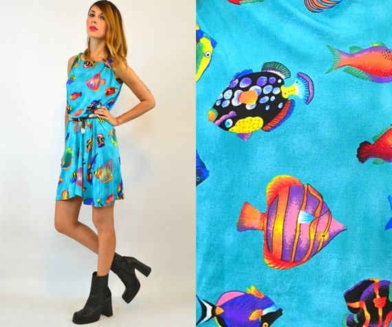 NOVELTY turquoise TROPICAL salt water fish slip on DRESS, one size