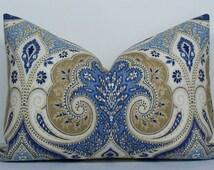 Kravet Decorative Pillow Cover - Ikat lumbar pillow - Paisley blue pillow - throw pillow - accent pillow -delta-long lumbar-Latika-