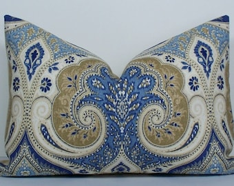 Kravet IKAT Latika Blue Long lumbar Decorative Pillow Cover Paisley blue throw pillow accent pillow BOTH SIDES