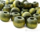 Wood Beads, Forest Green, Hemp Macrame Beads, Hemp Jewelry Beads, 8x10mm - Large Beading Hole - 50pc