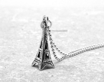 Eiffel Tower Necklace, Eiffel Tower Jewelry, Eiffel Tower Pendant, Charm Necklace, Sterling Silver Jewelry, Eiffel Tower