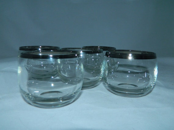 vintage 1960s glasses silver band ROLY POLY tumblers 5