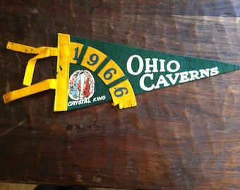 Vintage 1966 Ohio Caverns Pennant