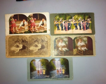 Antique Stereoscope Cards with Children