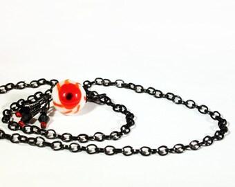 Zombie EyeBall Choker Necklace // Zombie Valentine // Eyeball Jewlery  Lamp work bead, dangle earring, Gothic Valentine