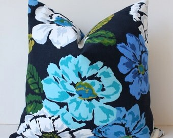 "Modern Turquoise grey navy Decorative Designer Pillow Cover 18"" Accent floral large flowers yellow white aqua blue green natural"