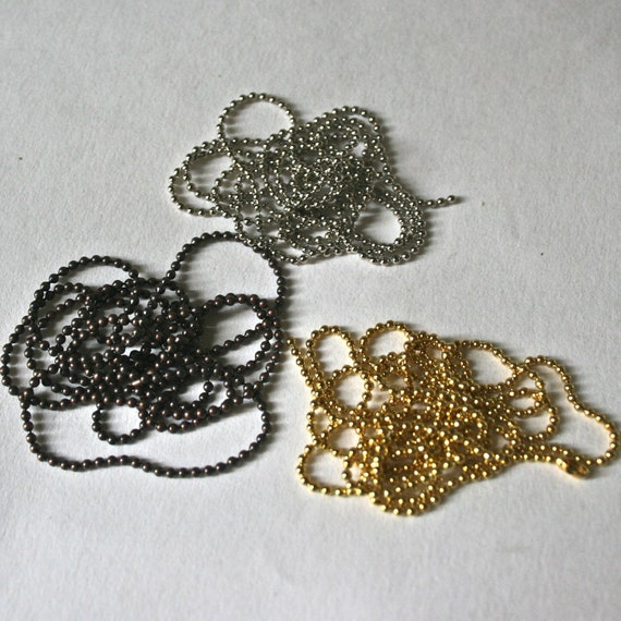 Tiny Bead Chain 30 inch Necklace in Silver Bronze or Gold Tone