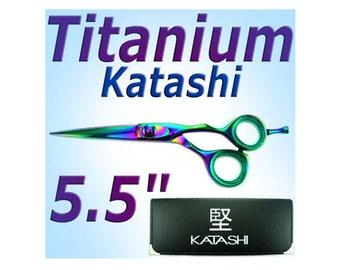 "5.5"" KATASHI Titanium Hair scissors - Offset handle - KT61"