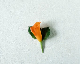Orange Real Touch Calla Lily Boutonniere