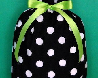 Black and White Dots with Lime Medium Fabric Gift Bag - Polka Dots, Big Dots, Lime Green, All Occasion, Gift Wrap