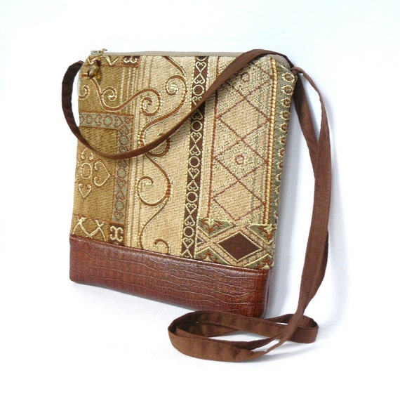 Cross Body Bag, Fabric Hip Bag, Pouch Purse - Marrakesh Tapestry in Bronze, Khaki and Gold