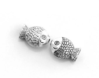 15Pcs/15Pieces Alloy Metal Double Sides Fish Beads Finding Supplies Jewelry DIY /Spacers 11mm x 7mm x 5mm  ja507