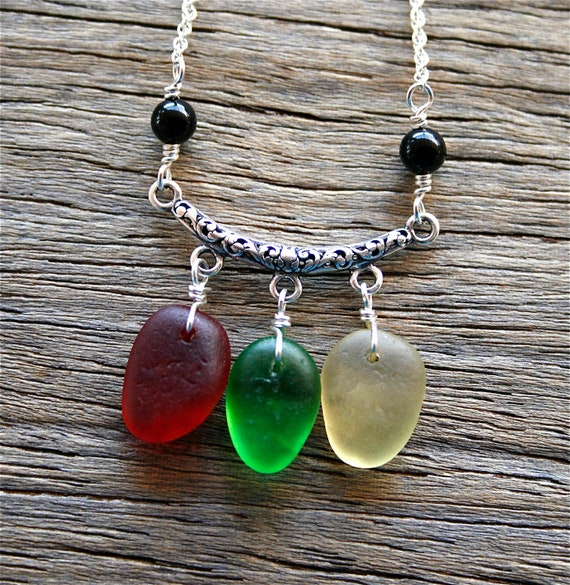 Sea Glass Necklace Red Green Yellow Festoon Sterling Silver Rare Colors