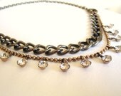 Handmade vintage & repurposed art deco statement necklace crystal rhinestones