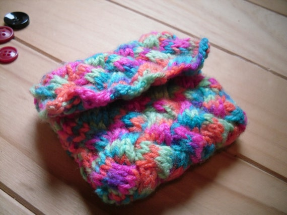 Items similar to Hand Knitted Coin Purse, Multi Coloured Change Purse on Etsy