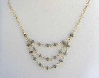 Delicate Labradorite Rosary Chain Necklace Gold Multi Chain Gemstone Nugget Necklace Small Gemstone Pendant Layered Gold Chain Necklace