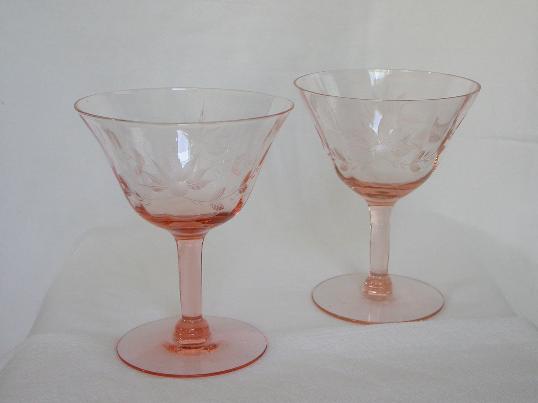Pink Etched Depression Glass Sherbets Set of 2