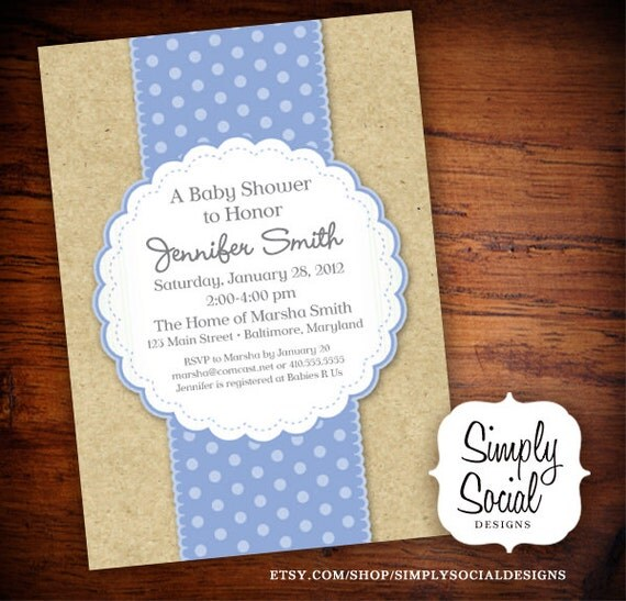 Items similar to craft paper baby shower invitation baby for Baby shower paper crafts