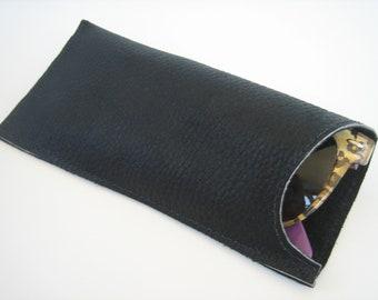 Black Leather Small Sunglasses Case