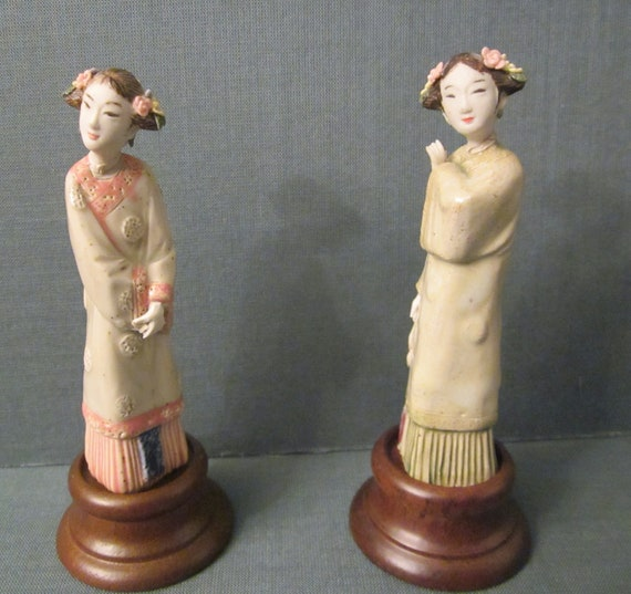 Pair of Porcelain Japanese Beauties on Wood Display Stands - Exquisite Geisha Girl Figurines