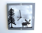 Kitchen clock- Unique Grey and white square wall clock with a moose, Hand painted on canvas, by Shellyka
