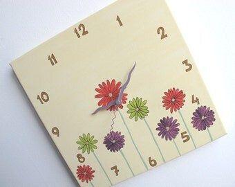 Children's Wall clock-  Daisy flowers clock Hand painted on canvas- Cream clock for nursery/ kitchen clock
