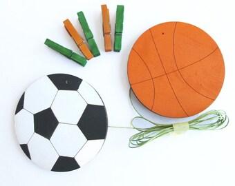 Children's  Artwork display hanger- Sport- Orange and black and white wall art for boys - basketball and soccer kids wall decor hangers