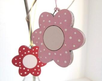 Flowers Ornament - kids HOLIDAY decor, wooden pink flower holiday decor, Christmas gift for girls, children decor