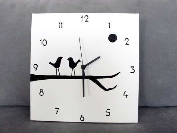 Wall clock black and white birds clock birds on a branch - Black and white kitchen clock ...