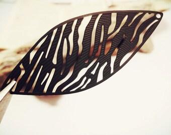 10pcs of Matte Black (64x26mm) Marquise Enamel Brass Zebra Pattern Filigree Connector Earring Drops Z3659 R14