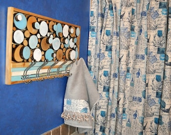 Shower Curtain in BLUE French Amore script 72x72 , add  matching Turkish hand towel