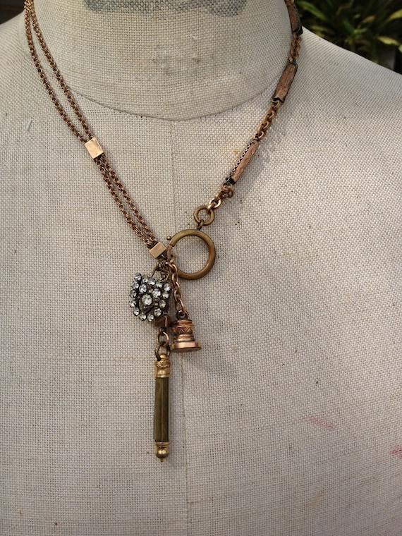 Antique Assembled Victorian Watch Chain Necklace wax seal mechanical pencil rhinestone buckle
