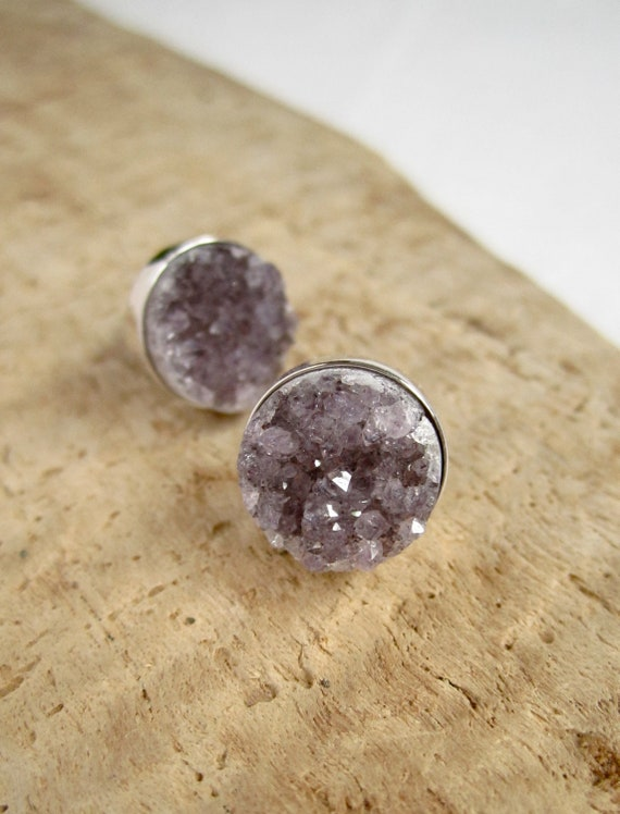 Amethyst Druzy Studs Drusy Quartz Earrings Rhodium Plated Sterling Silver